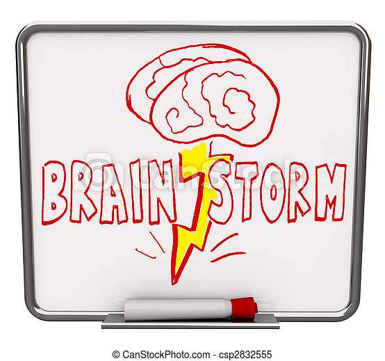 Brainstorm - Dry Erase Board with Red Marker - csp2832555