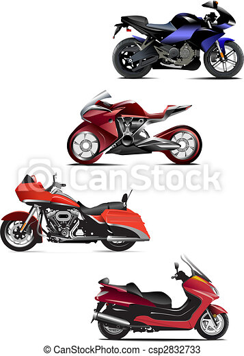 Four  modern motorcycle. Vector illustration - csp2832733