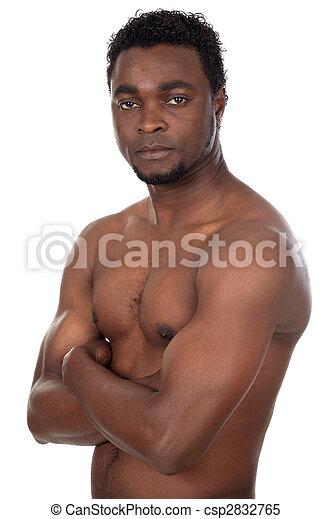 young African boy in defensive attitude - csp2832765