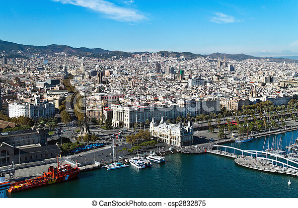 Cityscape of Rambla del Mar, Barcelona, Catalonia, Spain, Europe. Horizontally framed shot. - csp2832875