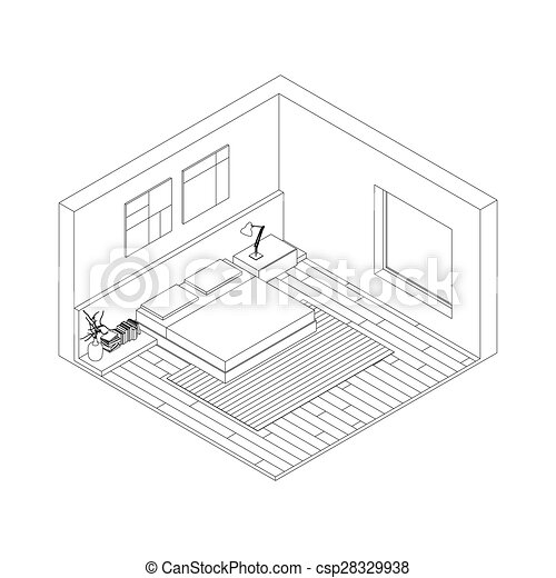 Vectors Of Bedroom Line Drawing Of The Interior Of