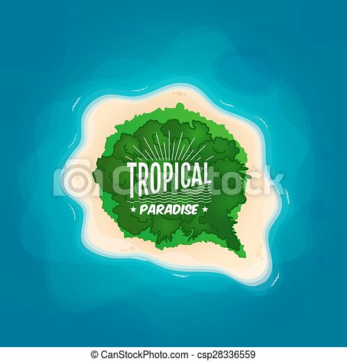 Clipart Vector of Top view of a tropical island in the ... Island Top View Vector