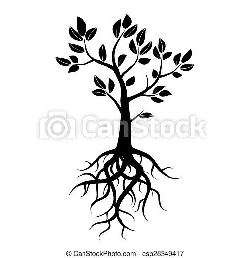 clip art vecteur de arbre vecteur noir racines pousse feuilles black csp28349417. Black Bedroom Furniture Sets. Home Design Ideas