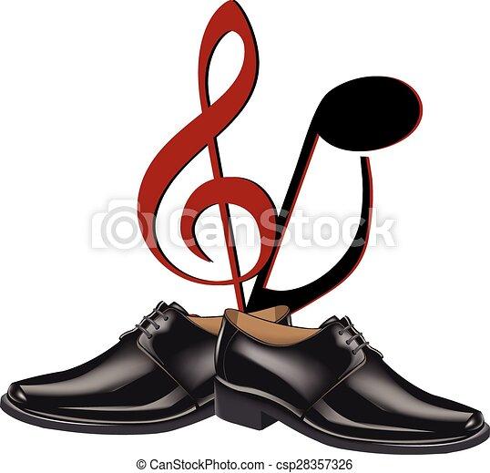 Vector Illustration of black shoes dance - black shoes men dance ...