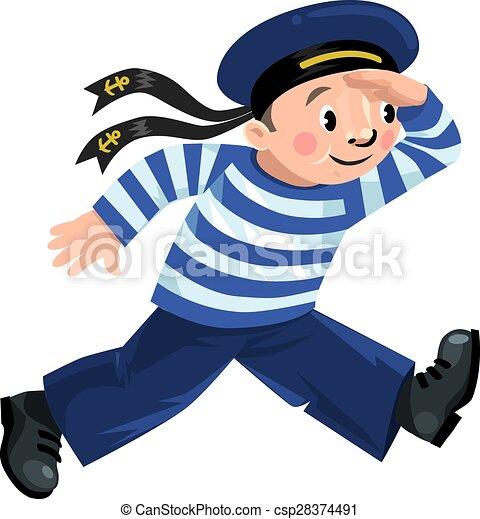 Vector Clip Art of Happy sailor - Happy jolly boy-sailor in vest ...