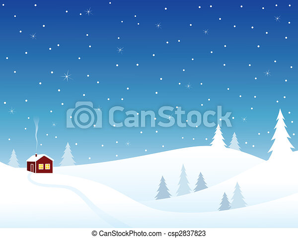 Vectors of Little house in snowy hills, cozy winter scene. csp2837823 ...