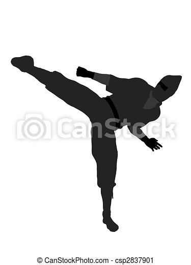 Male Ninja Illustration Silhouette - csp2837901