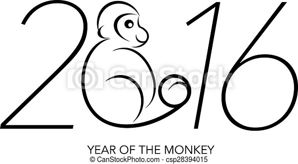 Vector Clip Art of 2016 Year of the Monkey Numerals Line Art ...