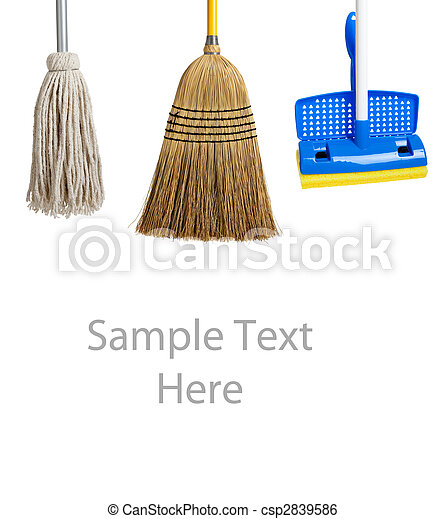 Sponge and string mop and broom on white - csp2839586