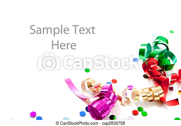 Multi colored confetti and streamers on white - csp2839758