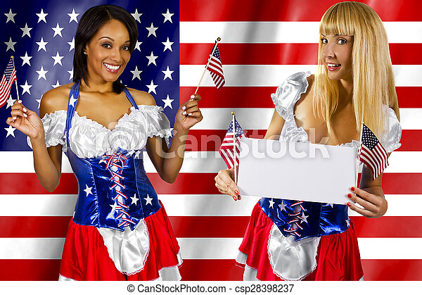 women dressed up in a costume with the American flag on 4th of July
