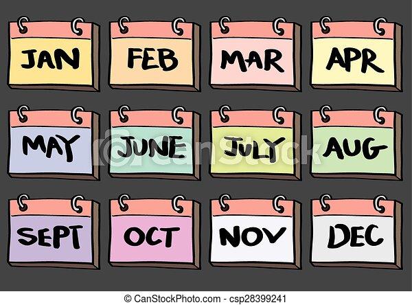 EPS Vector of 12-Month Calendar Cartoon Vector Icon Set ...