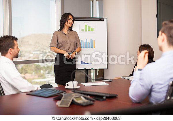 Woman giving a sales pitch