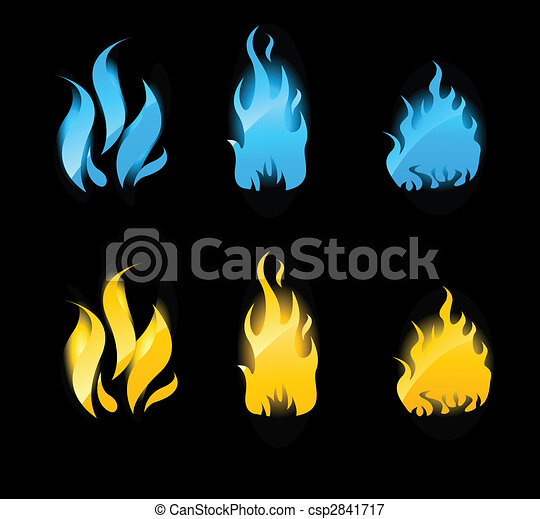 Blue and orange glowing flames on black background - csp2841717
