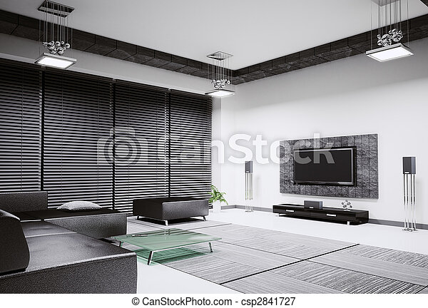 Living room interior 3d render - csp2841727
