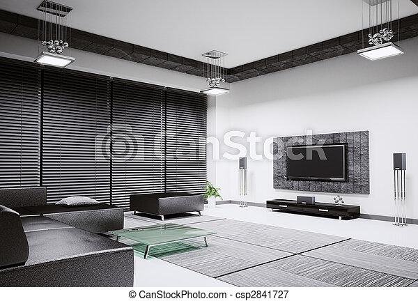 Living room interior 3d render - csp2841727
