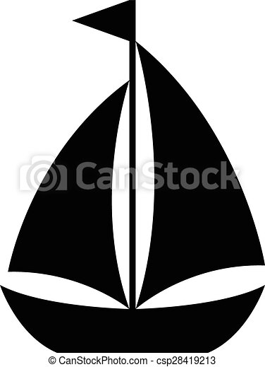 Simple cartoon sailboat icon of a small sailing vessel with two sails ...