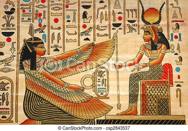 Papyrus with elements of egyptian ancient history - csp2843537
