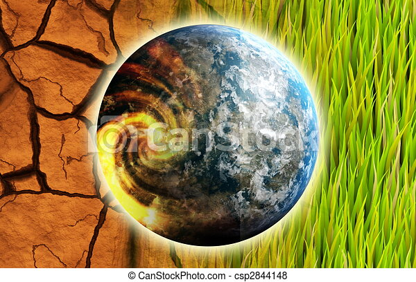 Global Warming Problem Earth as Concept Art - csp2844148