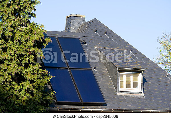 House with solar (photovoltaic) panels - csp2845006