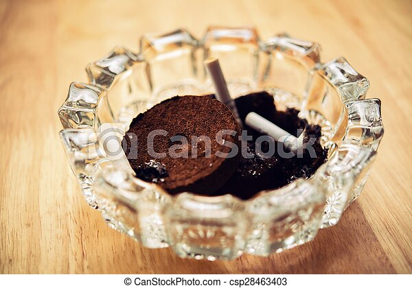 Ashtray cigarette from coffee grounds