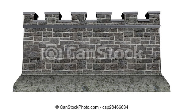 Drawings Of Castle Wall 3d Render Castle Wall Isolated