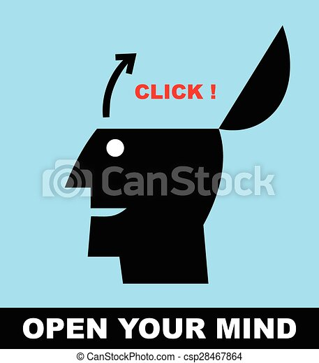 clip art vector of open your mind open minded simple flat icon of a person csp28467864. Black Bedroom Furniture Sets. Home Design Ideas
