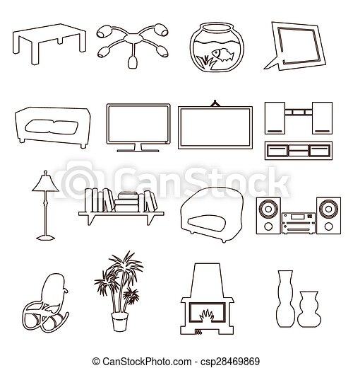 Clip Art Vector Of Living Room Simple Outline Icons Set Eps10