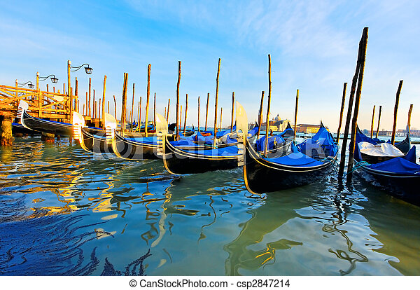 Gondolas at the Piazza San Marco, Venice, Italy - csp2847214