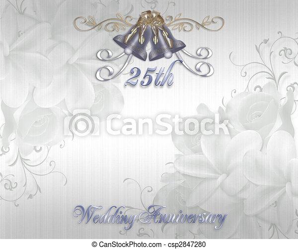 Stock Illustration 25th Wedding Anniversary Invitation
