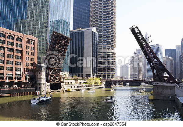 Draw bridges of Chicago - csp2847554