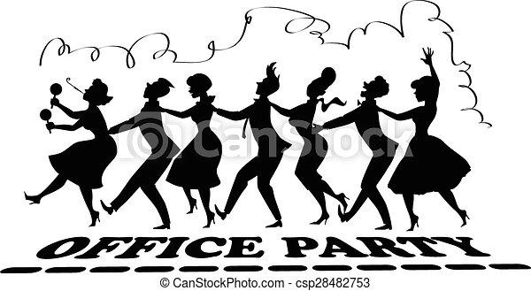 clipart vektor von party  silhouette  buero schwarz  vektor  silhouette  von  csp28482753 Design Clip Art 50s Theme Clip Art