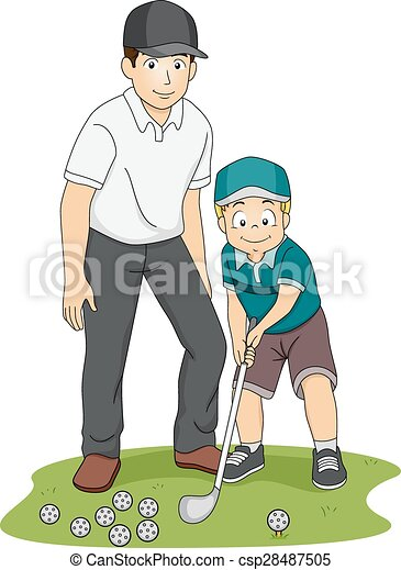Vector Clipart of Kid Boy Golf Coach - Illustration of a ... Kid Golfer Clipart