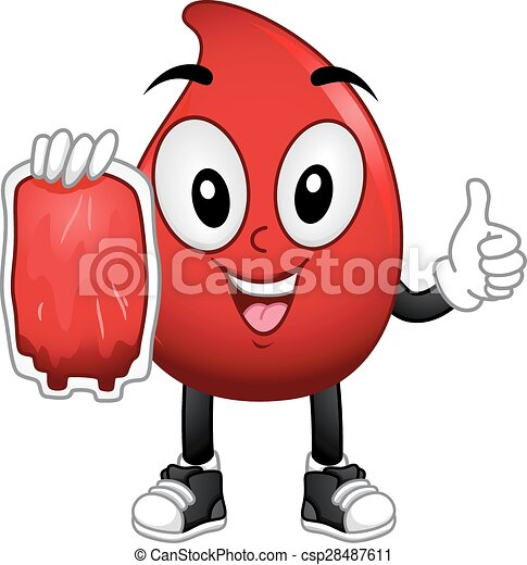 Vector Clip Art of Mascot Blood Donation - Mascot Illustration of ...