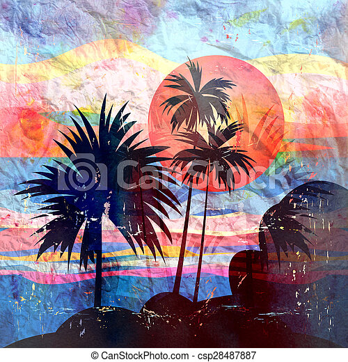 Graphics tropical landscape with palm trees - csp28487887