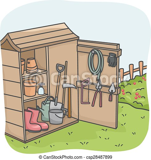 Eps Vectors Of Garden Tool Shed Illustration Of An Open