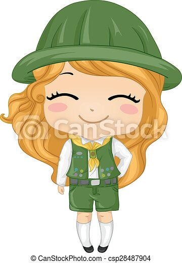 vector clipart of kid girl scout   illustration of a