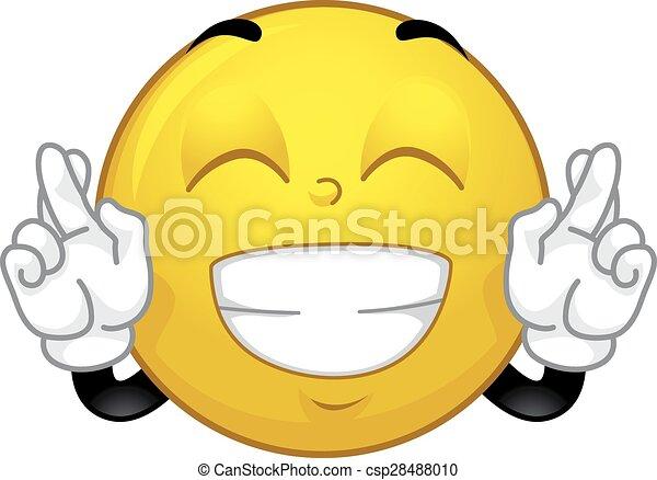 vektor clip art von smiley  gekreuzt  finger  maskottchen maskottchen  csp28488010 suchen Fingers Crossed Emoji fingers crossed clip art free