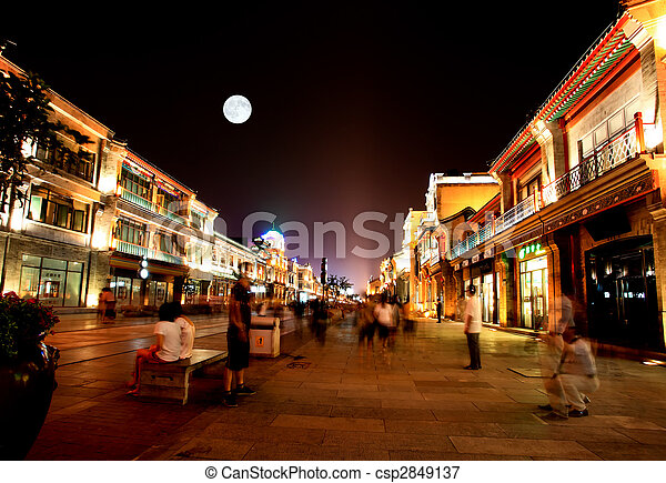 Picture of newly re-constructed Qianmen shopping district ...