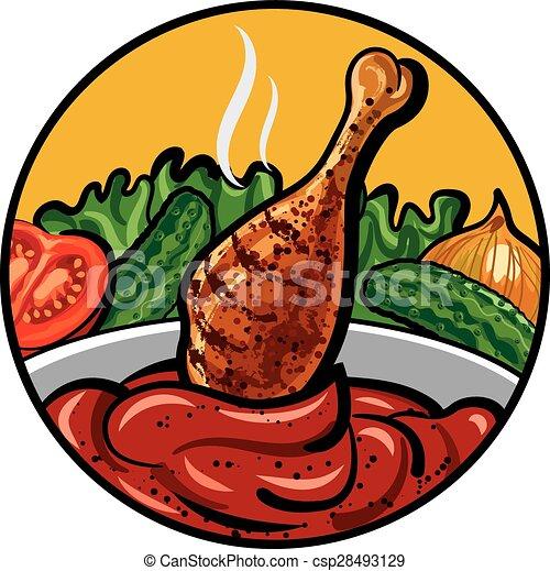chicken with sauce - csp28493129