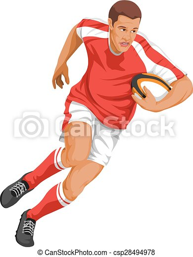 Vector of rugby player running with ball. - csp28494978