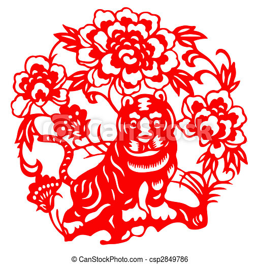 Stock Illustration of Chinese Zodiac of tiger - Chinese traditional ...