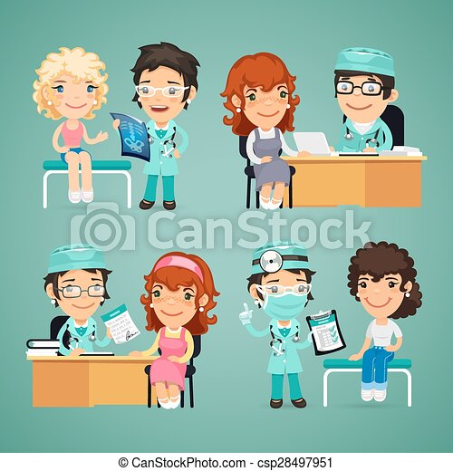 Clipart Vector of Women Having Medical Consultation in Doctors ...