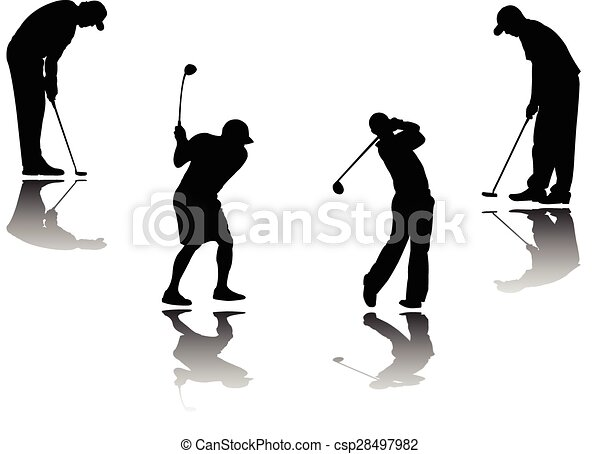 golf player with shadow and background - csp28497982