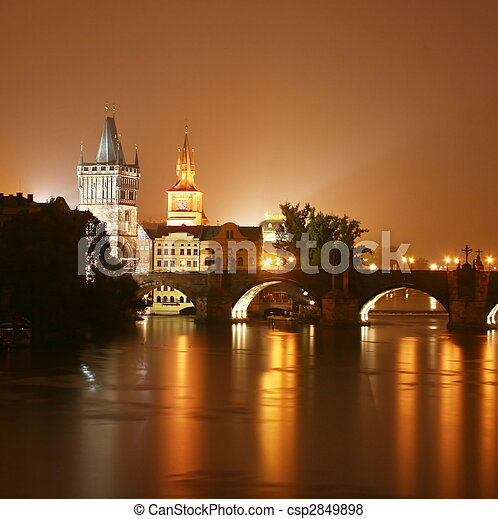 Prague at night - csp2849898
