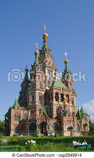 ortodosso,  peterhof, chiesa - csp2849914