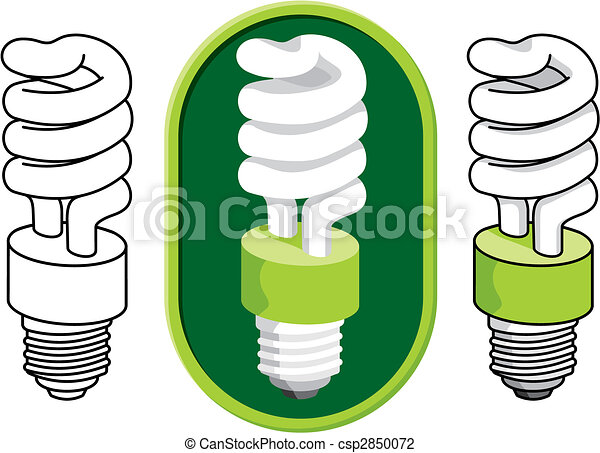 Spiral compact fluorescent light bulb vector - csp2850072