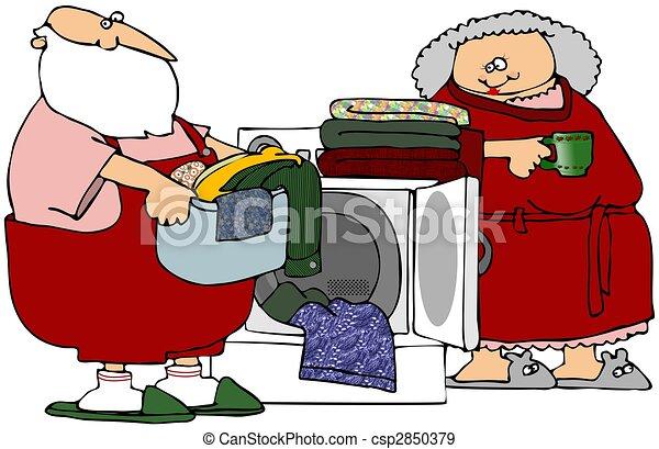 Santa Helping With Laundry - csp2850379