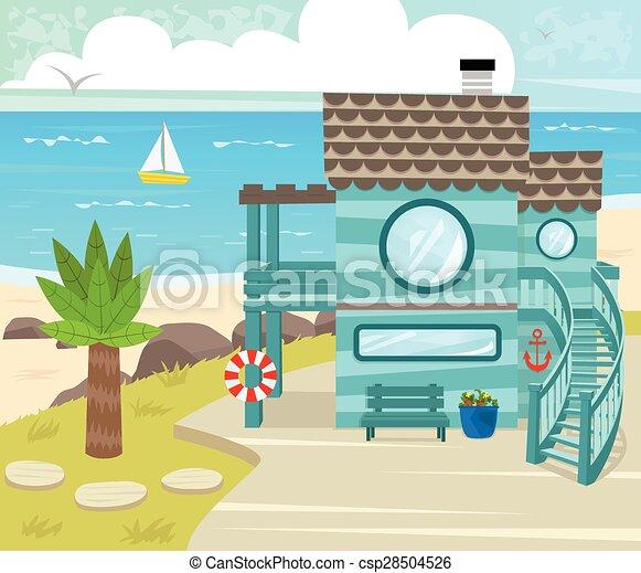 Vector illustration of beach house cartoon beach house for Beach house drawing