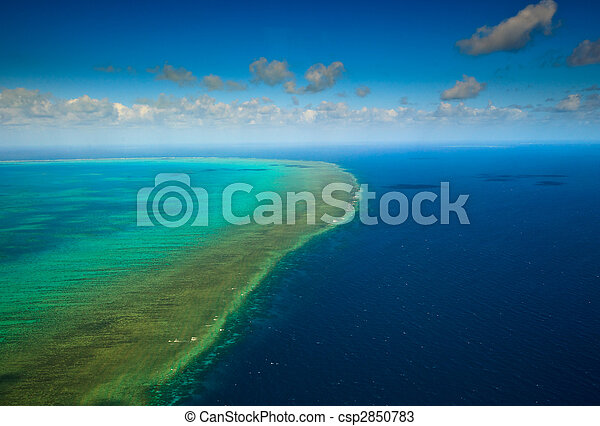 Aerial view of Arlington Reef at Great Barrier Reef Marine Park - csp2850783